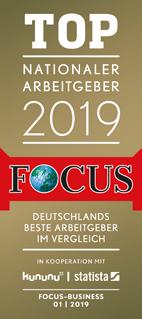 """Das Magazin Focus bewertete EOS als """"Top Nationaler Arbeitgeber 2019"""""""